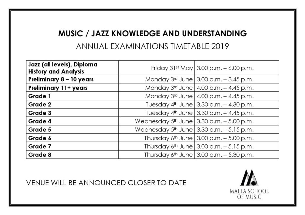 Annual Examination Timetable 2019 - Malta School of Music